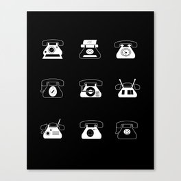 Fifties' Smartphones Black Canvas Print