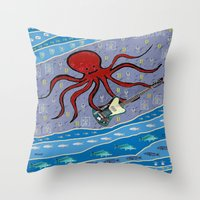 bass Throw Pillows featuring squid bass by Huiskat