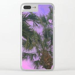 Purple Sky Palms Clear iPhone Case