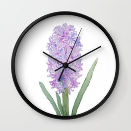 purple pink hyacinth watercolor Wall Clock