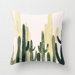 Green Cactus 4 Throw Pillow