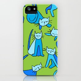 kitty kat (blue on green) iPhone Case