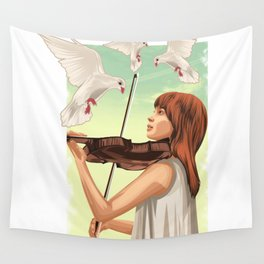 The Lovable Violin Girl Wall Tapestry