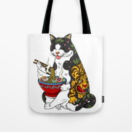 Cat eating Chinese Noodles with Tiger Tattoo Tote Bag