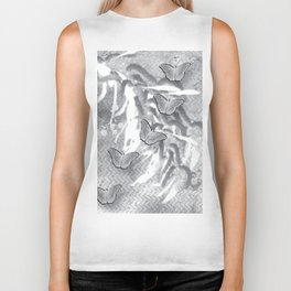 Butterflies in a gray abstract landscape Biker Tank