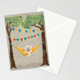 Dog in Hammock Painted Illustration Stationery Cards