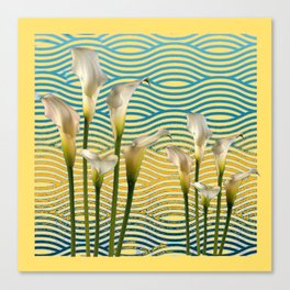 WHITE CALLA LILIES BLUE-YELLOW WATER ART Canvas Print