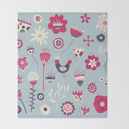 Scandi Birds and Flowers Blue Throw Blanket
