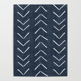 Mud Cloth Big Arrows in Navy Poster