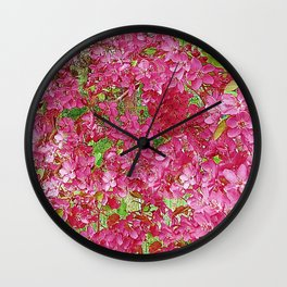 GREEN & FUCHSIA PINK CRABAPPLE FLOWER SPRING ART Wall Clock