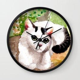 Cat in Garden Wall Clock