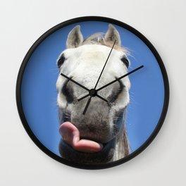Horse Licks Photography Print Wall Clock