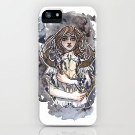 Larkspur Inktober Ink and Watercolor Illustration iPhone Case