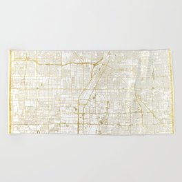 Las Vegas Map Gold Beach Towel