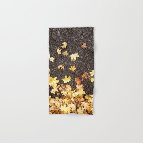 Gold yellow maple leaves autumn asphalt road Hand & Bath Towel