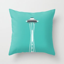 Space Needle Pop Art - Seattle, Washington Throw Pillow