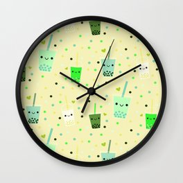Happy Boba Bubble Tea Yellow Wall Clock