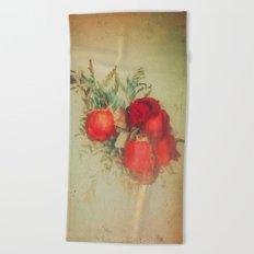Vintage Red Roses Beach Towel