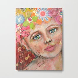 Waiting for the summer - mixed media acrylic painting collage folk art painting Metal Print