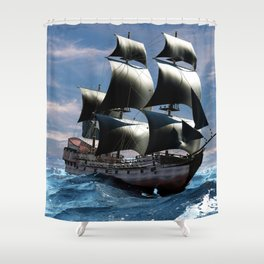 A beautiful sailboat in the open ocean Shower Curtain