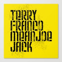 steelers Canvas Prints featuring Terry Franco Mean Joe Jack / Gold by Brian Walker