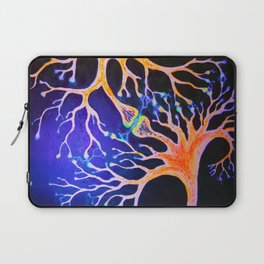Synapses connecting neurons fluorescent painting Laptop Sleeve
