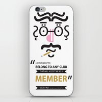 "marx iPhone & iPod Skins featuring Type Faces No.1 Groucho Marx: ""I don't care to belong to any club that will have me as a member"" by Joe Pugilist Design"