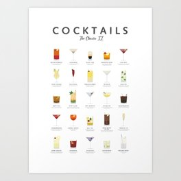 Cocktails types - Classic coctails 2 Art Print