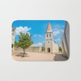 Square of the Glagolitic Monks with Church of St Francis, Town of Krk on the island of Krk, Croatia Bath Mat
