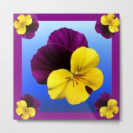 Decorative Shaded Blur Yellow-Purple Violas Art Metal Print