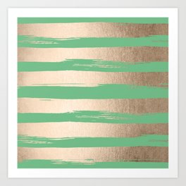 Painted Stripes Gold Tropical Green Art Print