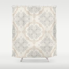 Modern Floral Damask Pattern – Neutral Brown and Gray Earth Tones Shower Curtain