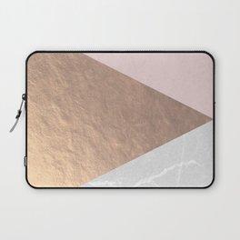 Geo tri - rose gold & concrete Laptop Sleeve