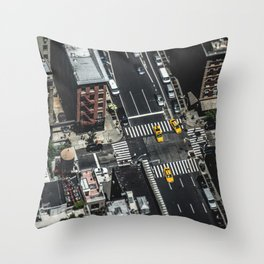 Little Yellow Cabs Throw Pillow