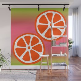 Tropical exotic red grapefruit citrus slices summer fruity sunny colorful pink and green whimsical cute retro design. Wall Mural