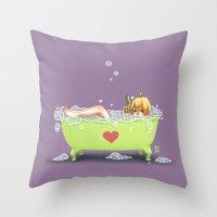tina crespo Throw Pillows featuring Tina de Amor by Coffeshere