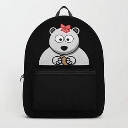 Cute and Fleecy Icebear Ice Bear Baby with Hair Bow Design Backpack