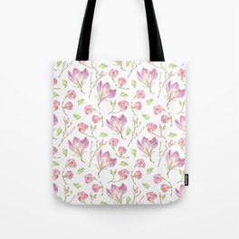 Pink lilac watercolor hand painted magnolia pattern Tote Bag