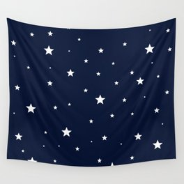 Scattered Stars White on Midnight Blue Wall Tapestry