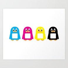 Four-Color Penguins Art Print