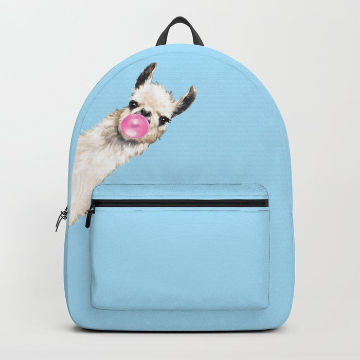 Bubble Gum Sneaky Llama in Blue Backpack