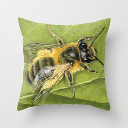 Honeybee On Leaf Throw Pillow