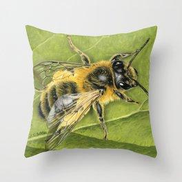 Honeybee On Leaf Throw Pillow