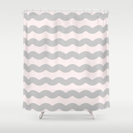 Gasp Gray on Millennial Pink Waves Shower Curtain