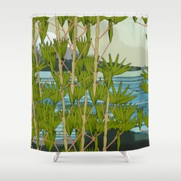 MOUNT FUJY BEHIND BAMBOO Shower Curtain