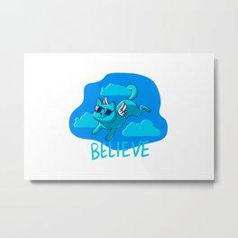 Blue cat angel Metal Print