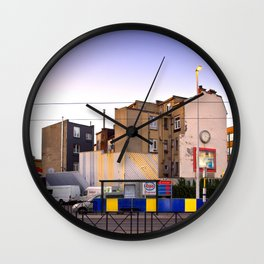 Sunset City Lights, Architecture Photography Wall Clock