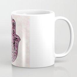Watercolor Black  Pink Hamsa Hand Coffee Mug