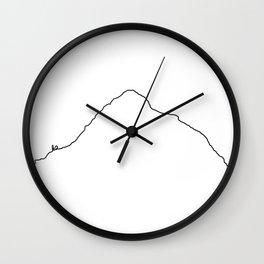 K2 Art Print / White Background Black Line Minimalist Mountain Sketch Wall Clock