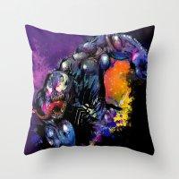 venom Throw Pillows featuring Venom by Vincent Vernacatola